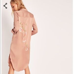 Missguided Embroidery Back Nude Shirt Dress